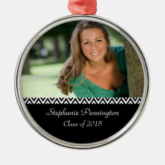 Black white zig zag graduation photo ornament