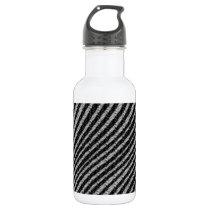 Black & White Zig Zag Pattern Stainless Steel Water Bottle