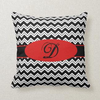 Black White Zizzag Chevron Red Monogram Throw Pillows