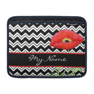 Black White Zizzag Chevron Red Poppy Personalized Sleeve For MacBook Air