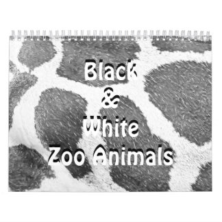 Black & White Zoo Animals Calendar