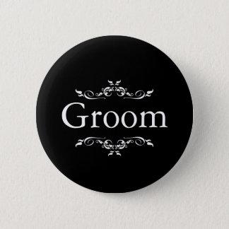 Black & Whitee Floral Swirl Border Groom Button