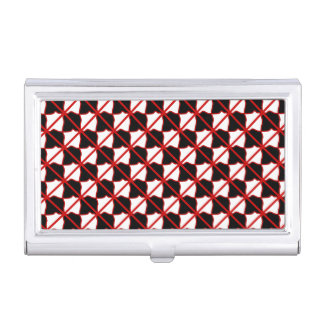 Black Whiter and Red Business Card Holder