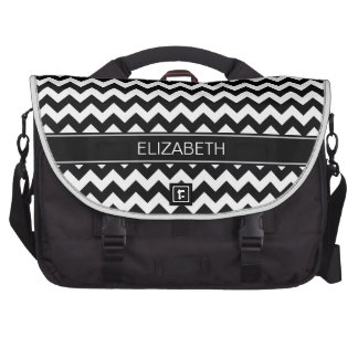 Black Wht Chevron Zigzag 7P Black Name Monogram Laptop Commuter Bag