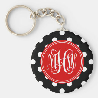 Black Wht Dot Red 3 Init Vine Script Monogram Key Chain