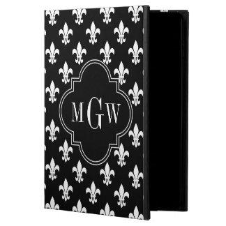 Black Wht Fleur de Lis Black 3 Initial Monogram Powis iPad Air 2 Case