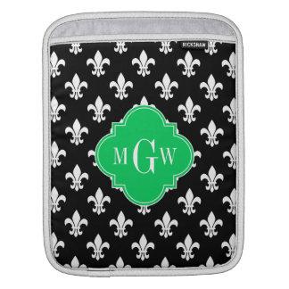 Black Wht Fleur de Lis Emerald 3 Initial Monogram iPad Sleeves