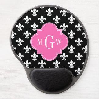 Black Wht Fleur de Lis Hot Pink 3 Initial Monogram Gel Mouse Pad