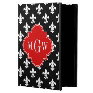 Black Wht Fleur de Lis Red 3 Initial Monogram iPad Air Covers
