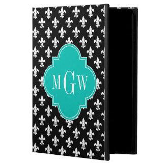 Black Wht Fleur de Lis Teal 3 Initial Monogram Powis iPad Air 2 Case