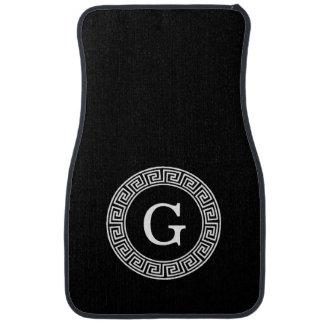 Black Wht Greek Key Rnd Frame Initial Monogram Car Floor Mat