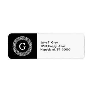 Black Wht Greek Key Rnd Frame Initial Monogram Return Address Label