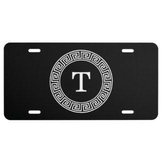 Black Wht Greek Key Rnd Frame Initial Monogram License Plate