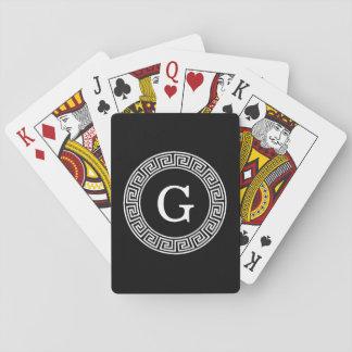 Black Wht Greek Key Rnd Frame Initial Monogram Card Deck