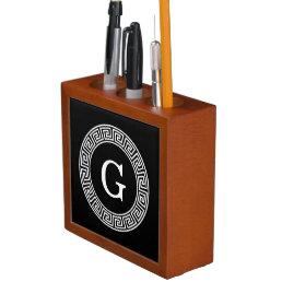 Black Wht Greek Key Rnd Frame Initial Monogram Pencil Holder