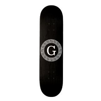 Black Wht Greek Key Rnd Frame Initial Monogram Skateboard
