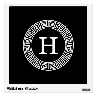 Black Wht Greek Key Rnd Frame Initial Monogram Wall Sticker