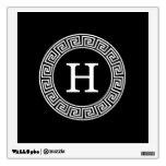 Black Wht Greek Key Rnd Frame Initial Monogram Wall Stickers
