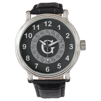 Black Wht Greek Key Rnd Frame Initial Monogram Wrist Watch