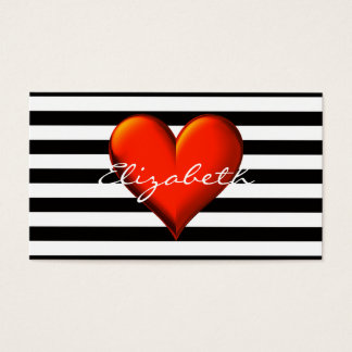 Black Wht Horiz Stripe Red Metallic Heart Monogram Business Card