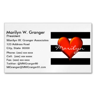 Black Wht Horiz Stripe Red Metallic Heart Monogram Magnetic Business Card