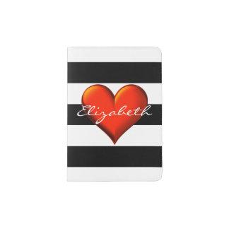 Black Wht Horiz Stripe Red Metallic Heart Monogram Passport Holder