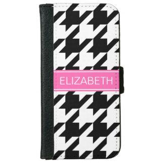 Black Wht Houndstooth #1 Hot Pink Name Monogram iPhone 6/6s Wallet Case