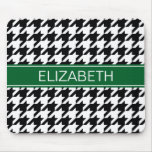 Black Wht Houndstooth #2 Forest Grn Name Monogram Mouse Pads