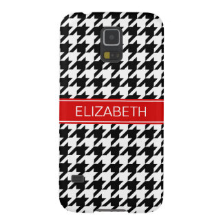 Black Wht Houndstooth #2 Red Name Monogram Case For Galaxy S5