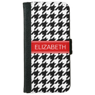 Black Wht Houndstooth #2 Red Name Monogram iPhone 6/6s Wallet Case