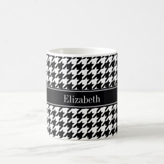Black Wht Houndstooth Black Name Monogram Coffee Mug
