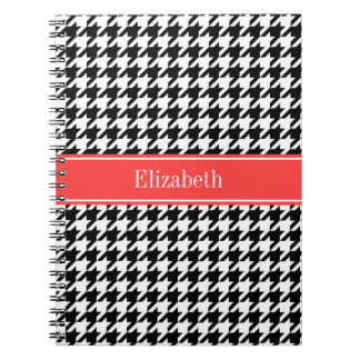 Black Wht Houndstooth Coral Red Name Monogram Note Book