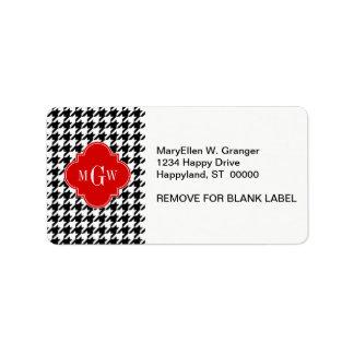 Black Wht Houndstooth Red Quatrefoil 3 Monogram Label