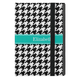 Black Wht Houndstooth Teal Name Monogram Cover For iPad Mini