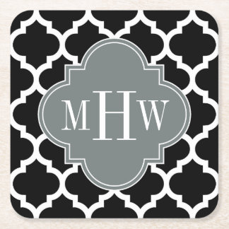 Black Wht Moroccan #5 Charcoal 3 Initial Monogram Square Paper Coaster