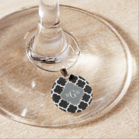 Black Wht Moroccan #5 Charcoal 3 Initial Monogram Wine Glass Charm
