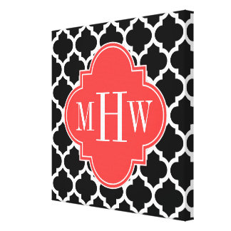 Black Wht Moroccan #5 Coral Red 3 Initial Monogram Canvas Print