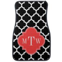 Black Wht Moroccan #5 Coral Red 3 Initial Monogram Car Floor Mat