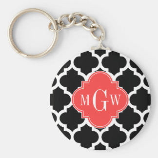 Black Wht Moroccan #5 Coral Red 3 Initial Monogram Keychain