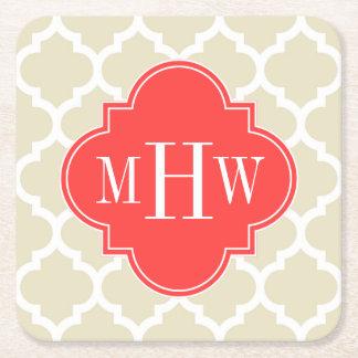 Black Wht Moroccan #5 Coral Red 3 Initial Monogram Square Paper Coaster