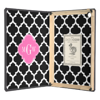 Black Wht Moroccan #5 Hot Pink #2 Name Monogram Cover For iPad Air