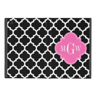 Black Wht Moroccan #5 Hot Pink #2 Name Monogram Case For iPad Mini