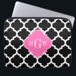 """Black Wht Moroccan #5 Hot Pink #2 Name Monogram Laptop Sleeve<br><div class=""""desc"""">Black and White Moroccan Quatrefoil Trellis Pattern #5, Hot Pink #2 Quatrefoil 3 Initial Monogram Customize this with your 3 initial monogram, name or other text. You can also change the font, adjust the font size and font color, move the text to adjust letter spacing, etc. Please note that this...</div>"""