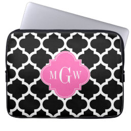 Black Wht Moroccan #5 Hot Pink #2 Name Monogram Laptop Sleeve