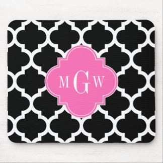 Black Wht Moroccan #5 Hot Pink #2 Name Monogram Mouse Pad