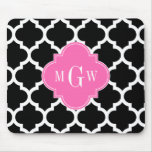 Black Wht Moroccan #5 Hot Pink #2 Name Monogram Mouse Pad