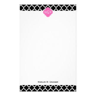 Black Wht Moroccan #5 Hot Pink #2 Name Monogram Stationery