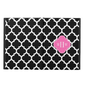 Black Wht Moroccan #5 Hot Pink 3 Initial Monogram Powis iPad Air 2 Case