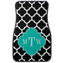 Black Wht Moroccan #5 Teal Name Monogram Car Floor Mat