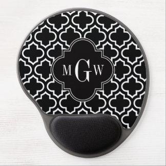 Black Wht Moroccan #6 Black 3 Initial Monogram Gel Mouse Pad